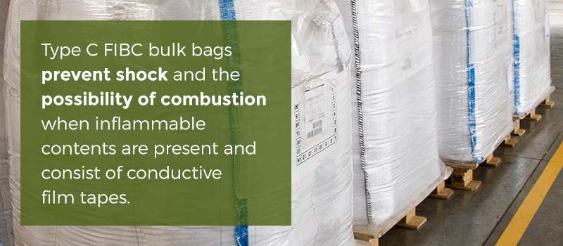 Type C FIBC bulk bags prevent shock and combustion